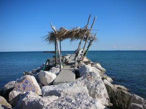 Der Lido als eine der Inseln in Venedig mit Fischerhütte Venezia